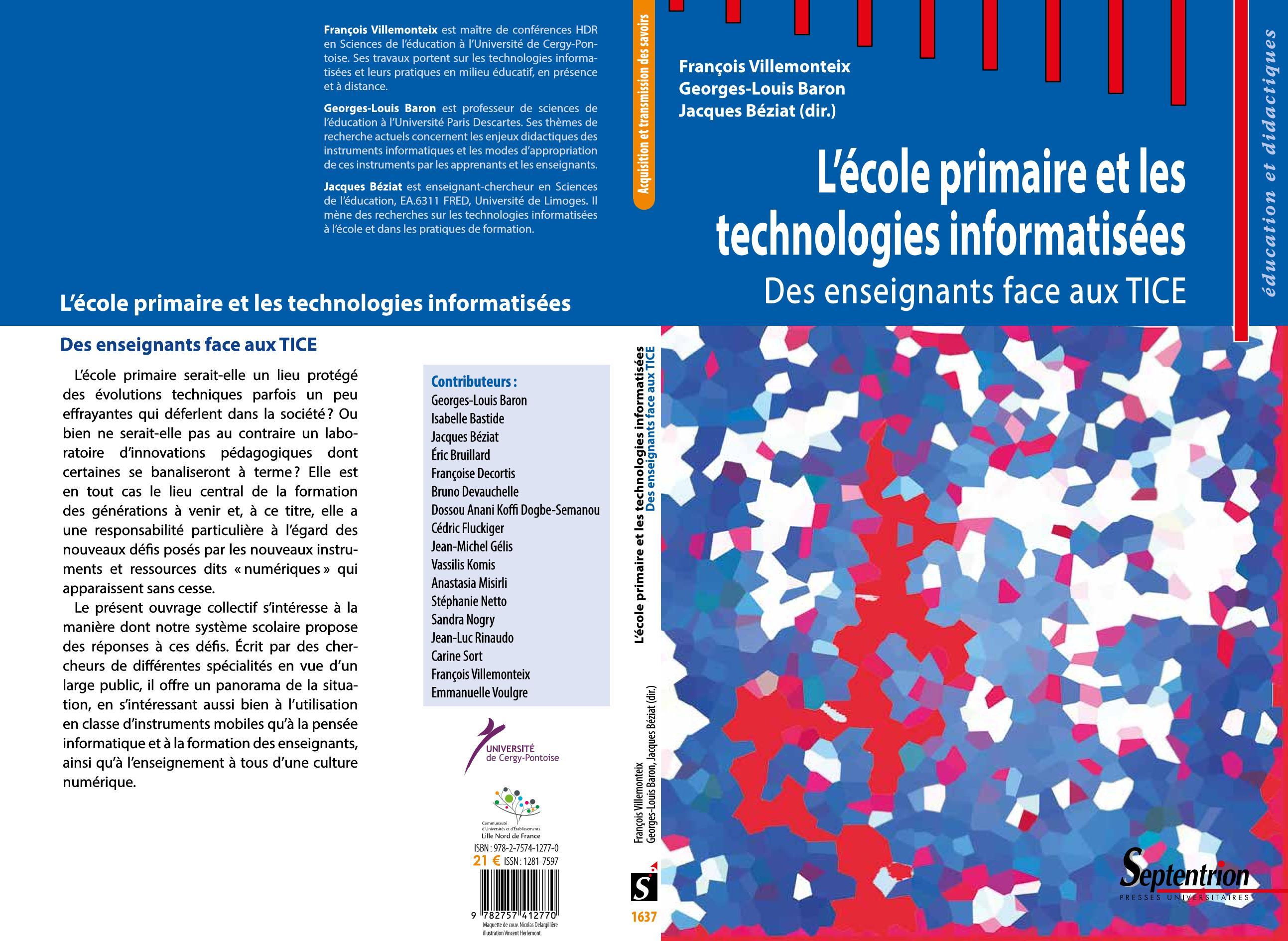 parution de  u00ab l u2019 u00e9cole primaire et les technologies